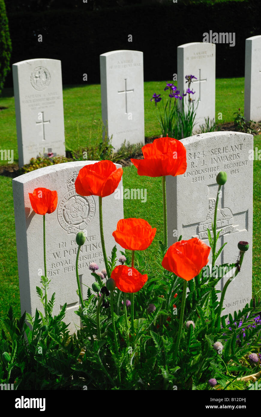 Headstones in World War One war cemetery Ramparts Cemetery also known as Lille Gate Cemetery Ypres Belgium Stock Photo