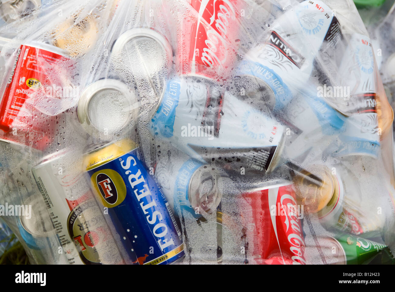 Drinks cans for recycling - Stock Image