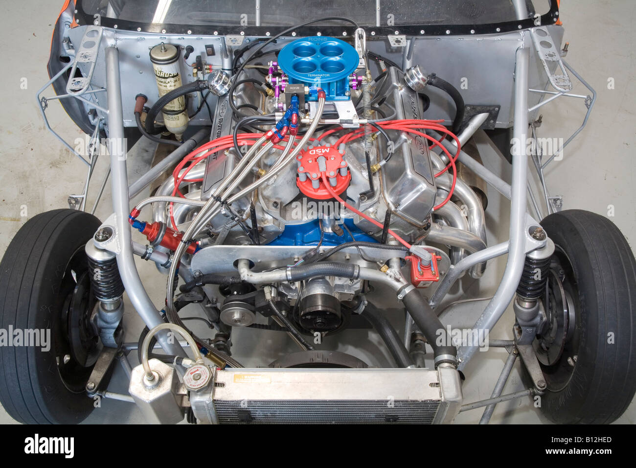 naturally aspirated and injected Ford V8 racing engine as used in a
