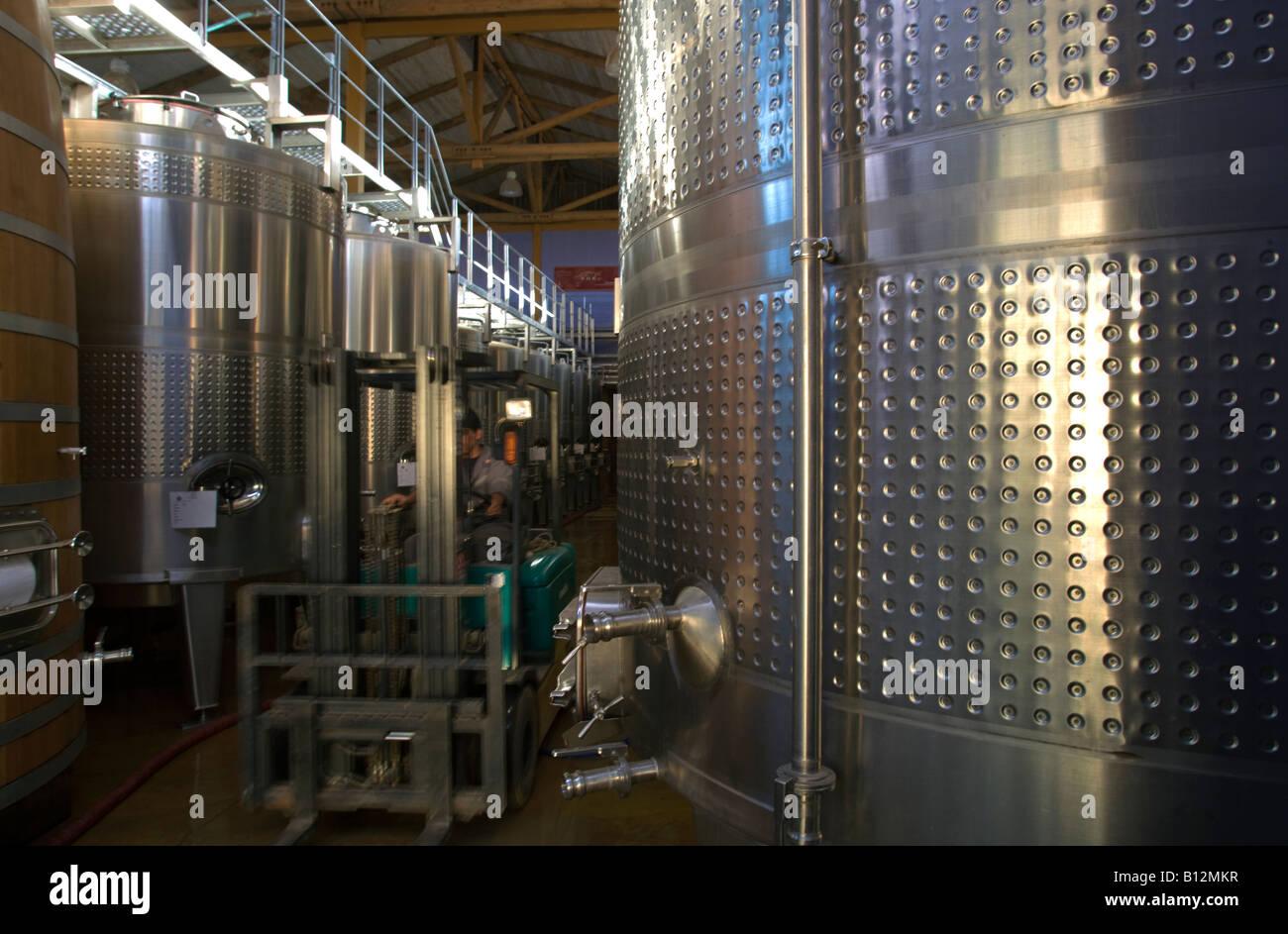 STAINLESS STEEL STORAGE TANKS VINA SANTA CRUZ WINERY COLCHAGUA CHILE