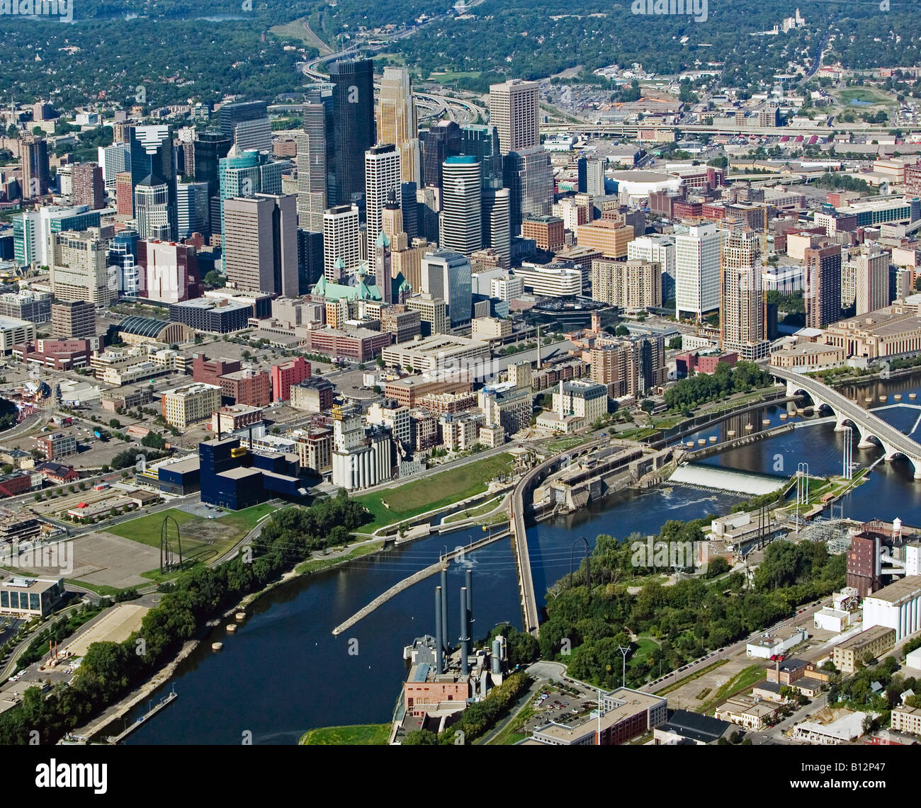 aerial above Minneapolis MN Minnesota skyline - Stock Image