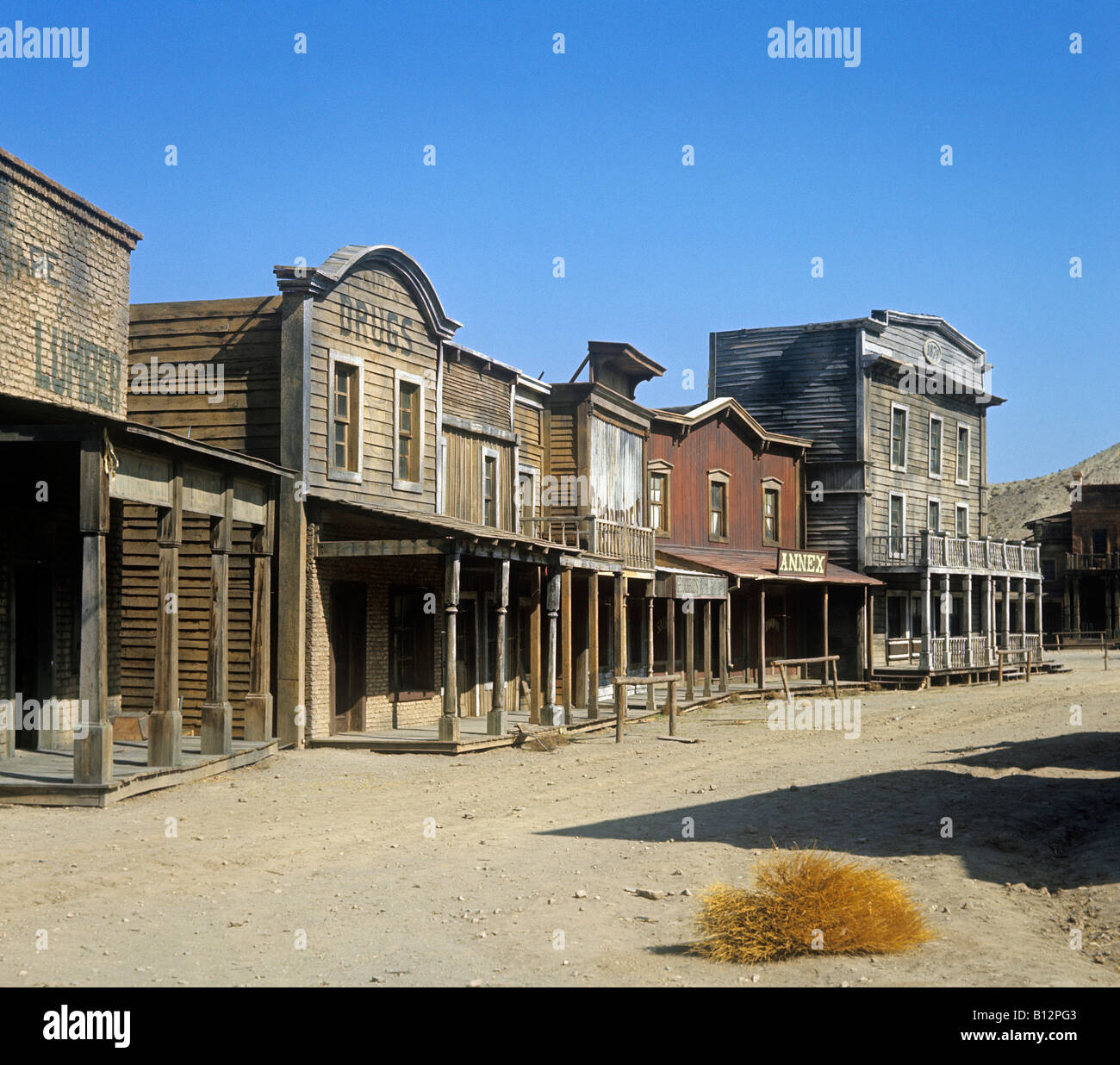 Wild West town built as a film set for some of the early Spaghetti Westerns at Tabernas inland from Almeria south - Stock Image