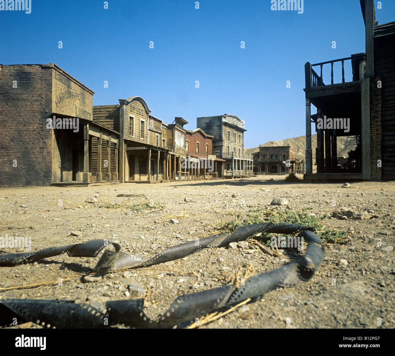 Wild West town built as a film set for some of the early Spagetti Westerns at Tabernas - Stock Image