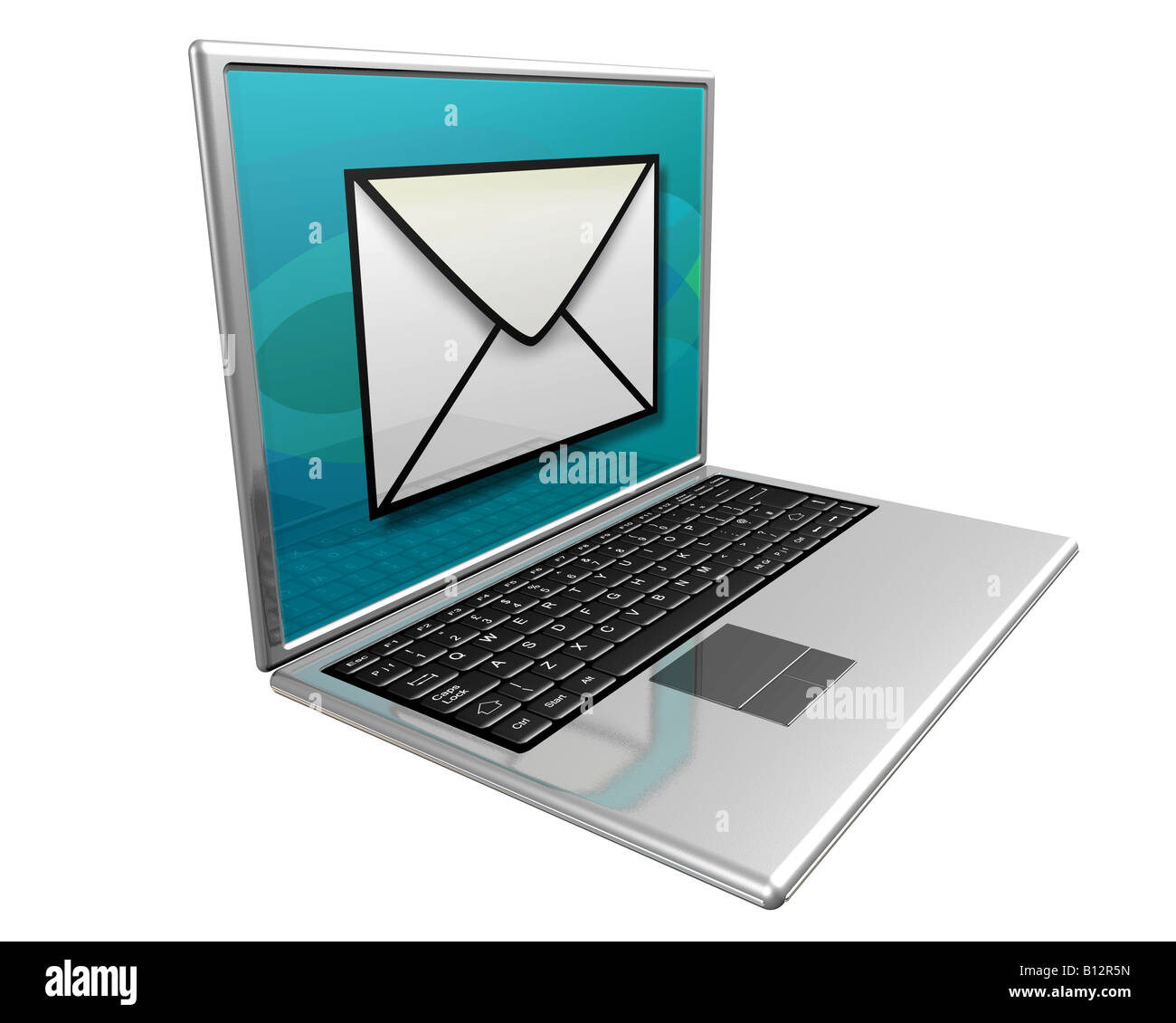 Laptop computer displaying a large mail icon indicating you have mail - Stock Image