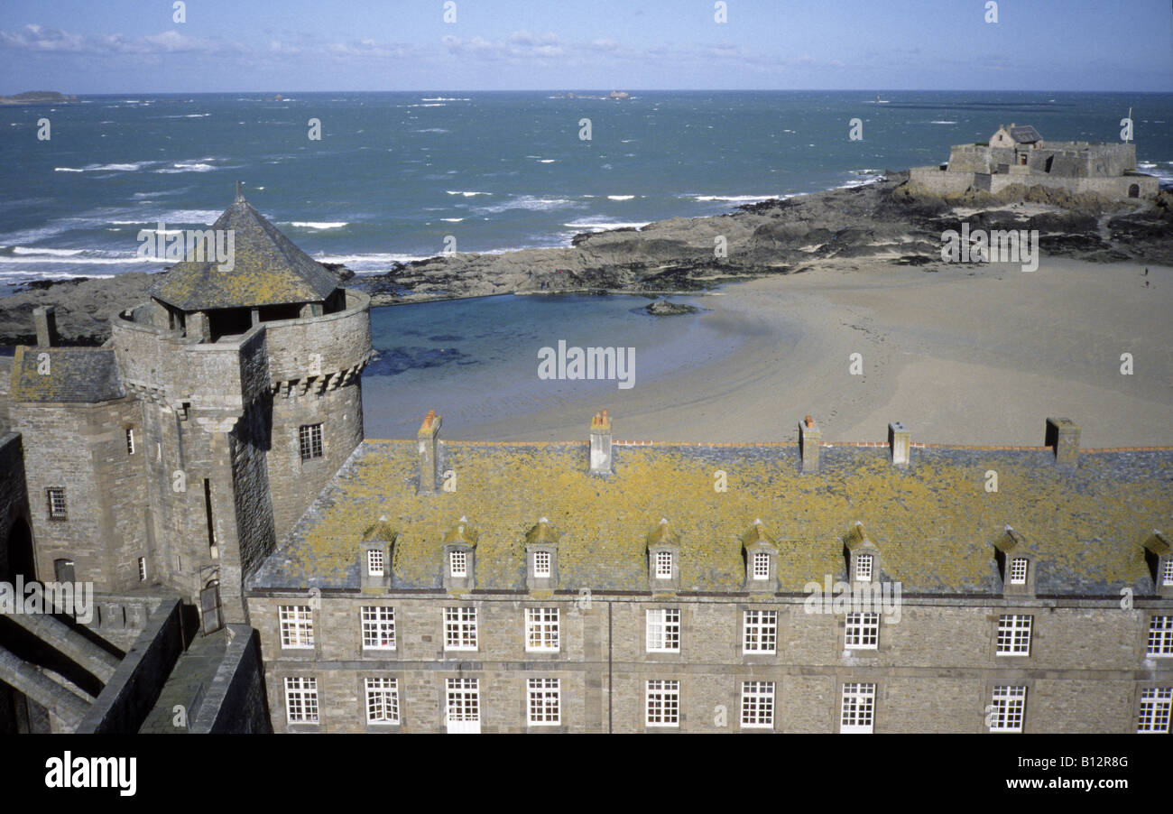 France Normandy Saint-Malo view from tower onto sea - Stock Image