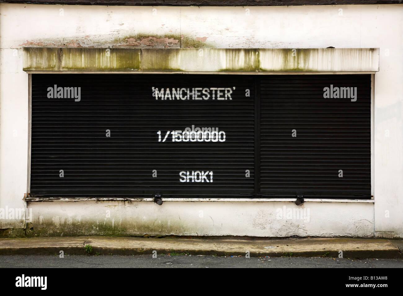 Grafiti On Roller Shutter In Manchester Uk Stock Photo 17899428 Alamy