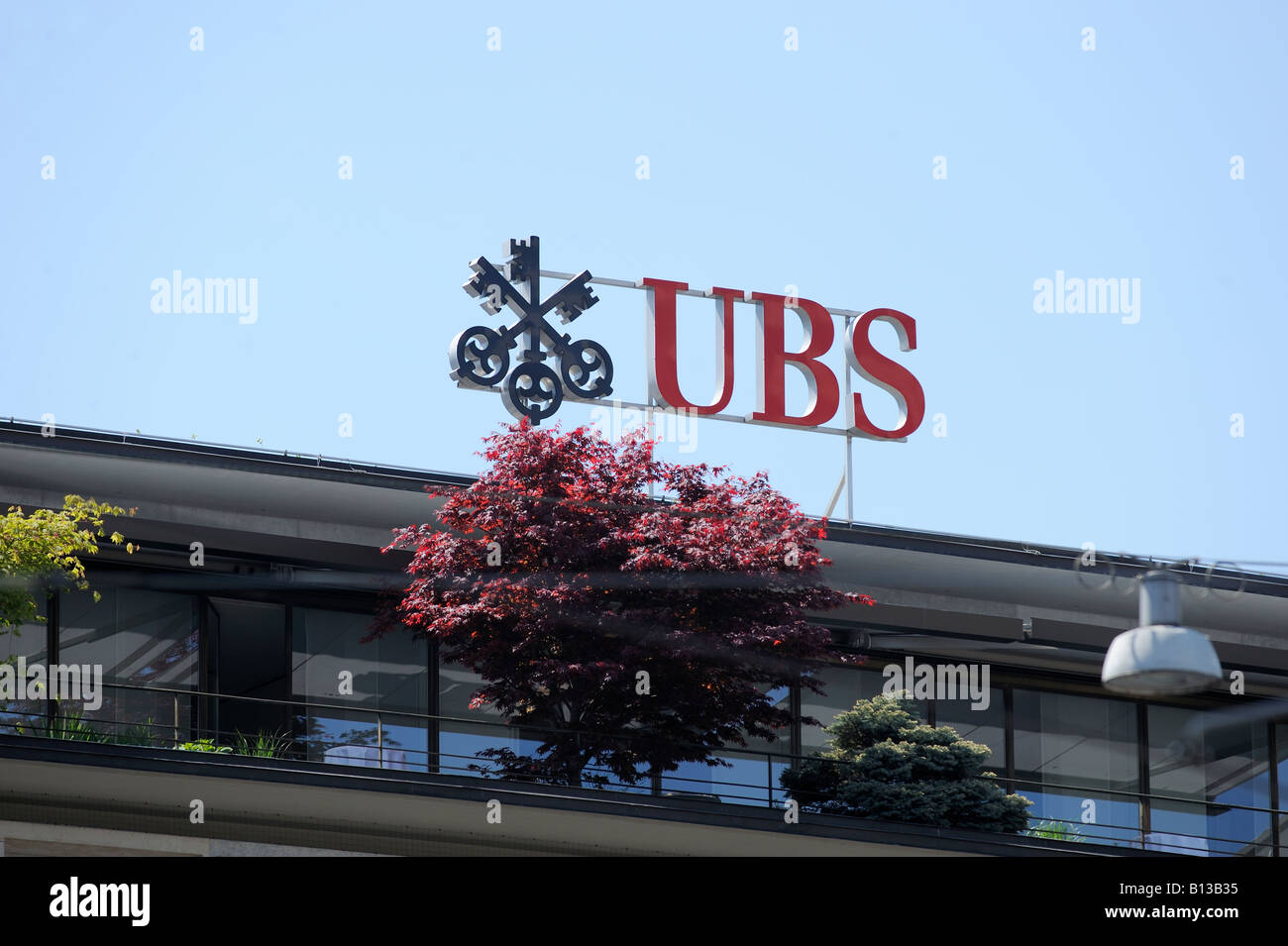 UBS logo at the roof - Stock Image