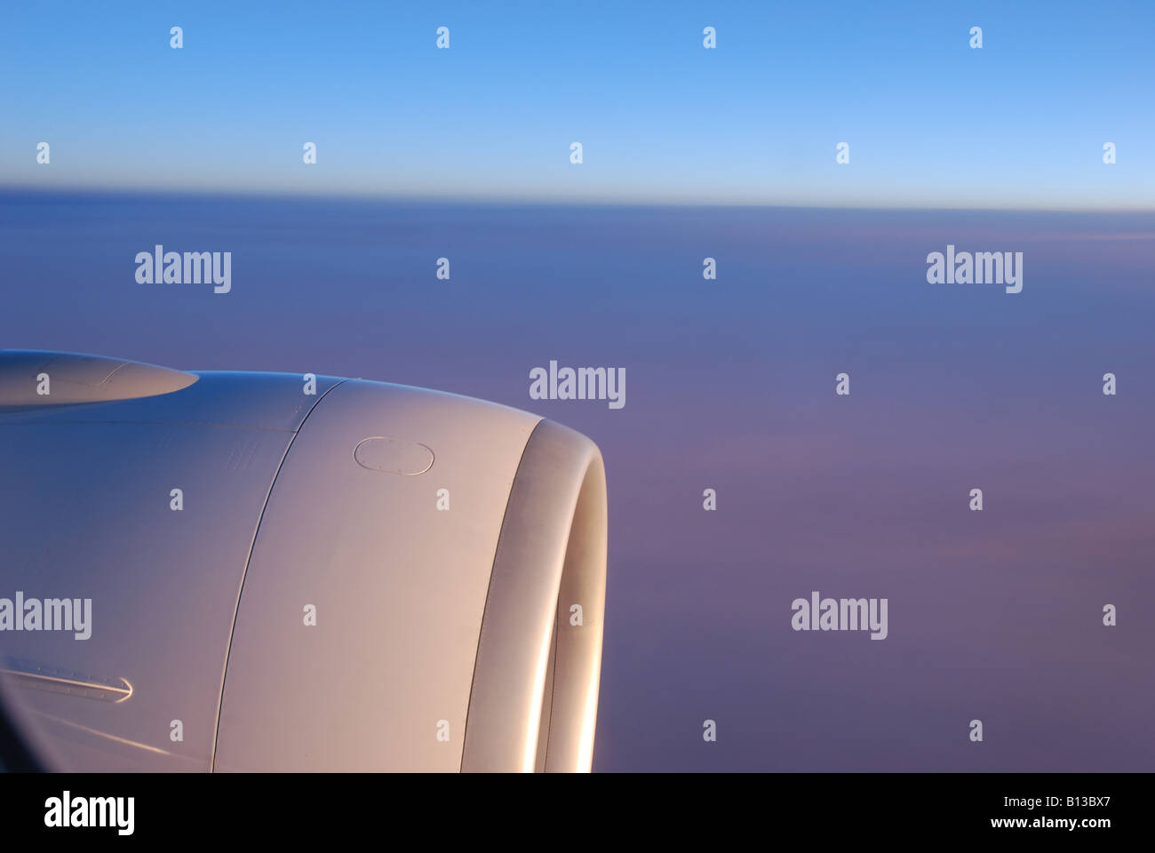sunrise crossing the atlantic ocean by plane from Cayenne to Paris - Stock Image