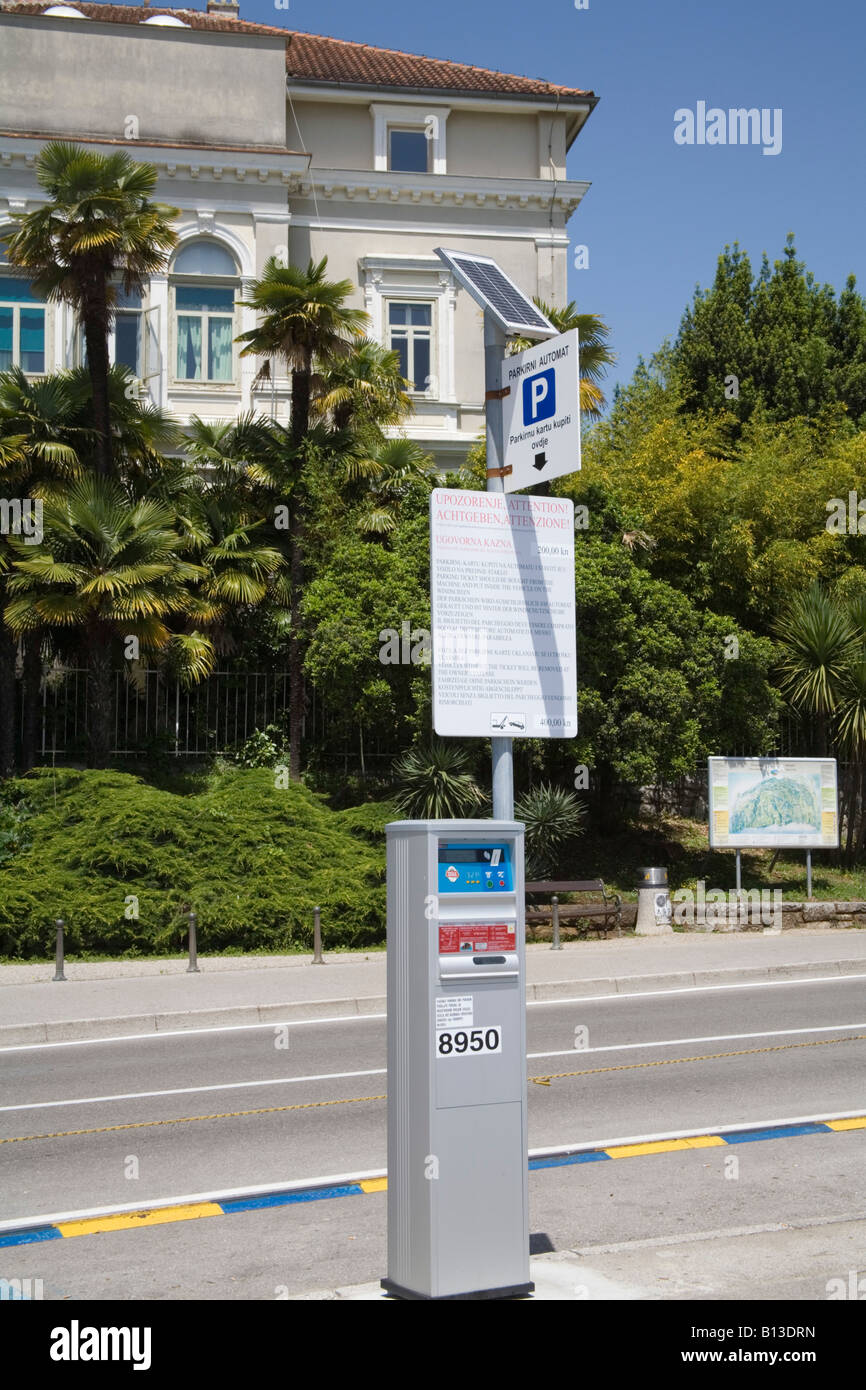 Croatia Europe May A solar panel used to power the traffic parking ticket machine - Stock Image
