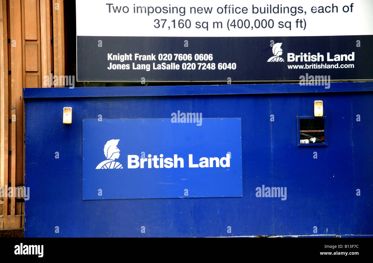 Sign on office development by British Land in City of London - Stock Image