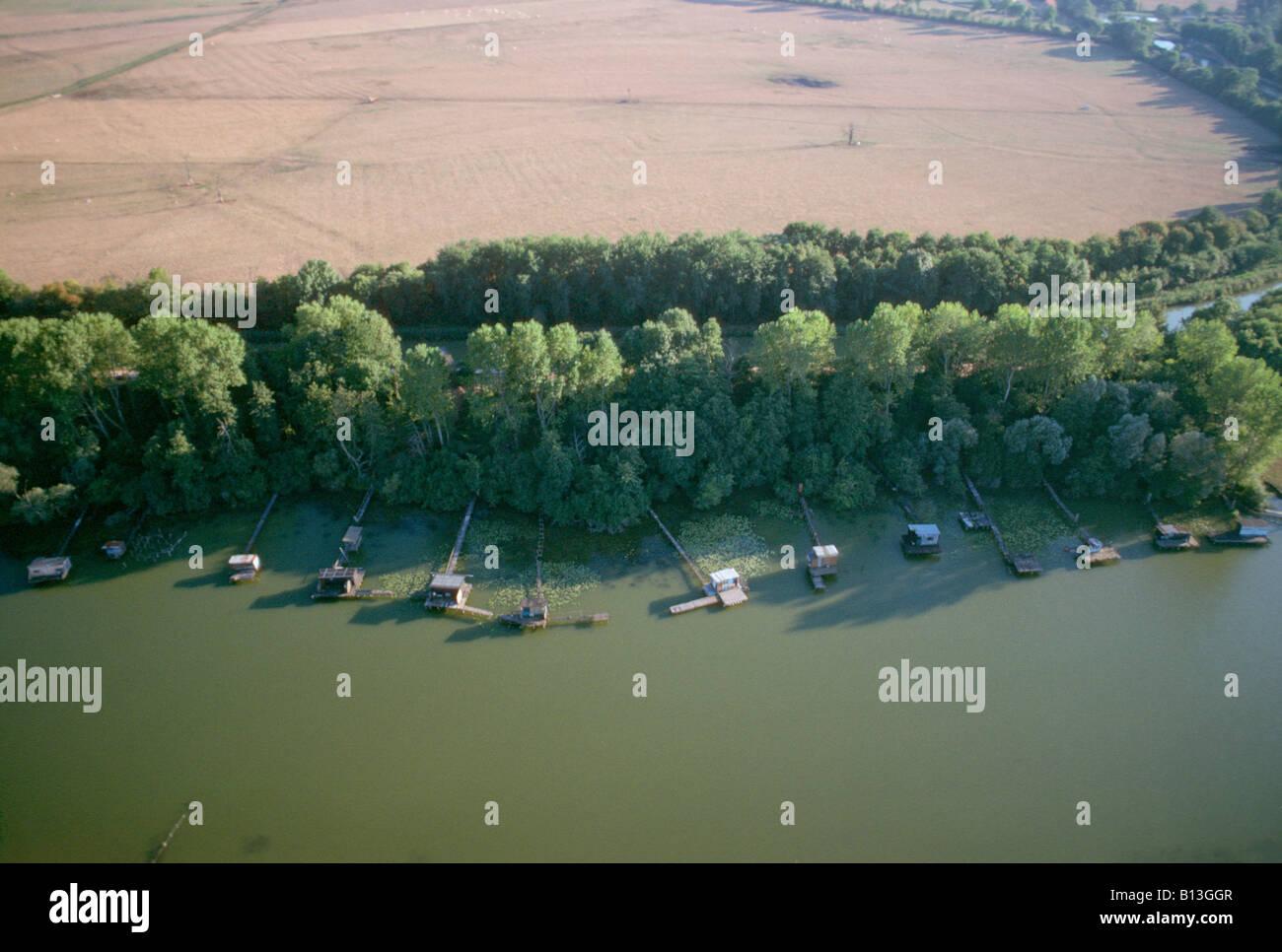 aerial view ,aerien,aerial,vue aerienne ,etang de pecheur avec ces cabanes de peche dans la nievre etang du crot - Stock Image