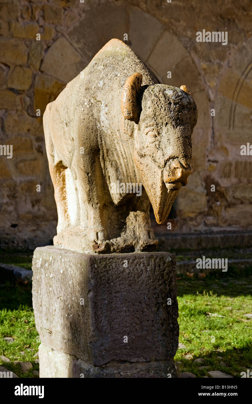 monument dedicated to the man of Altamira in Santillana del Mar Cantabria spain - Stock Image