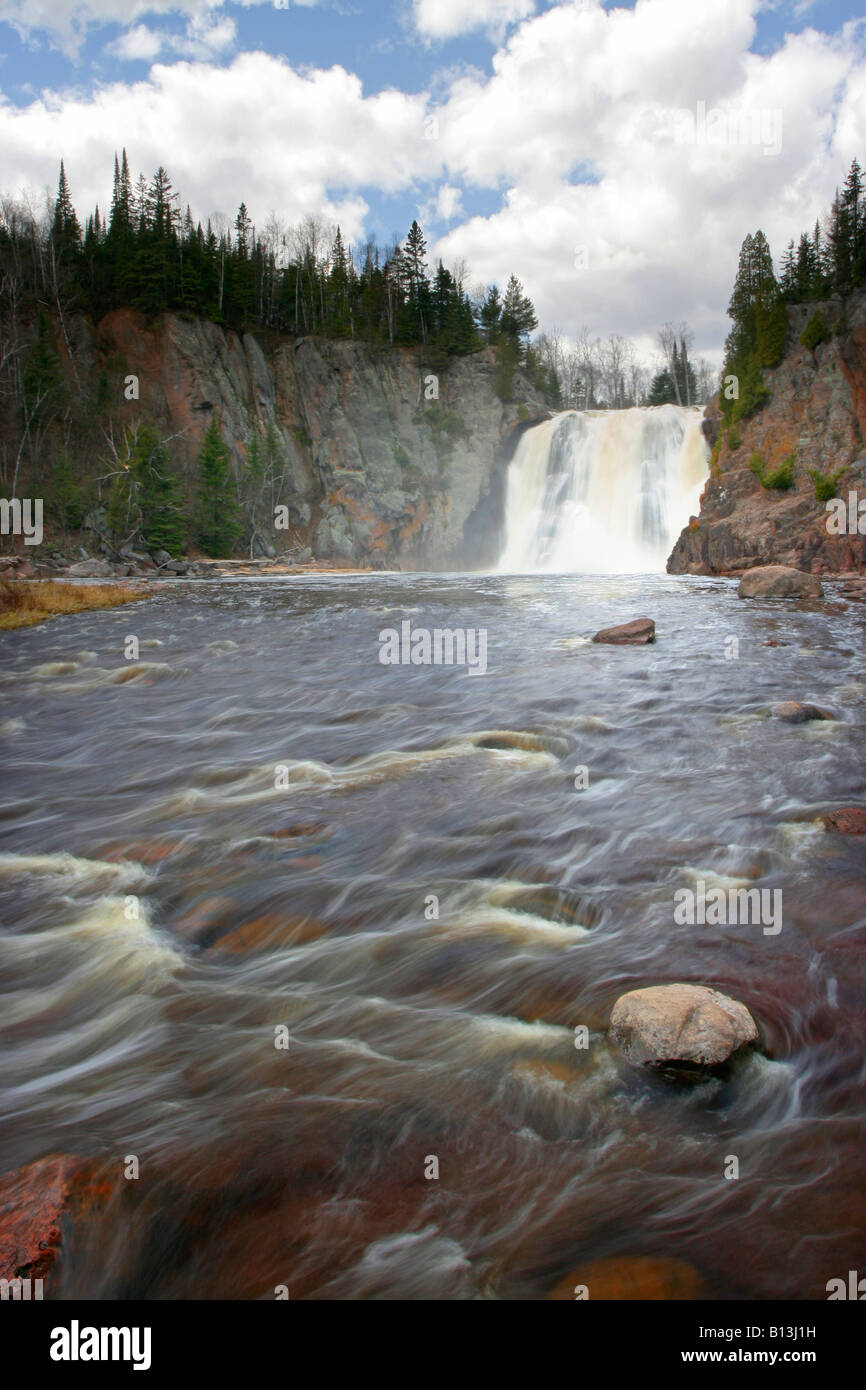 High Falls on the Baptism River in Tettegouche State Park - Stock Image