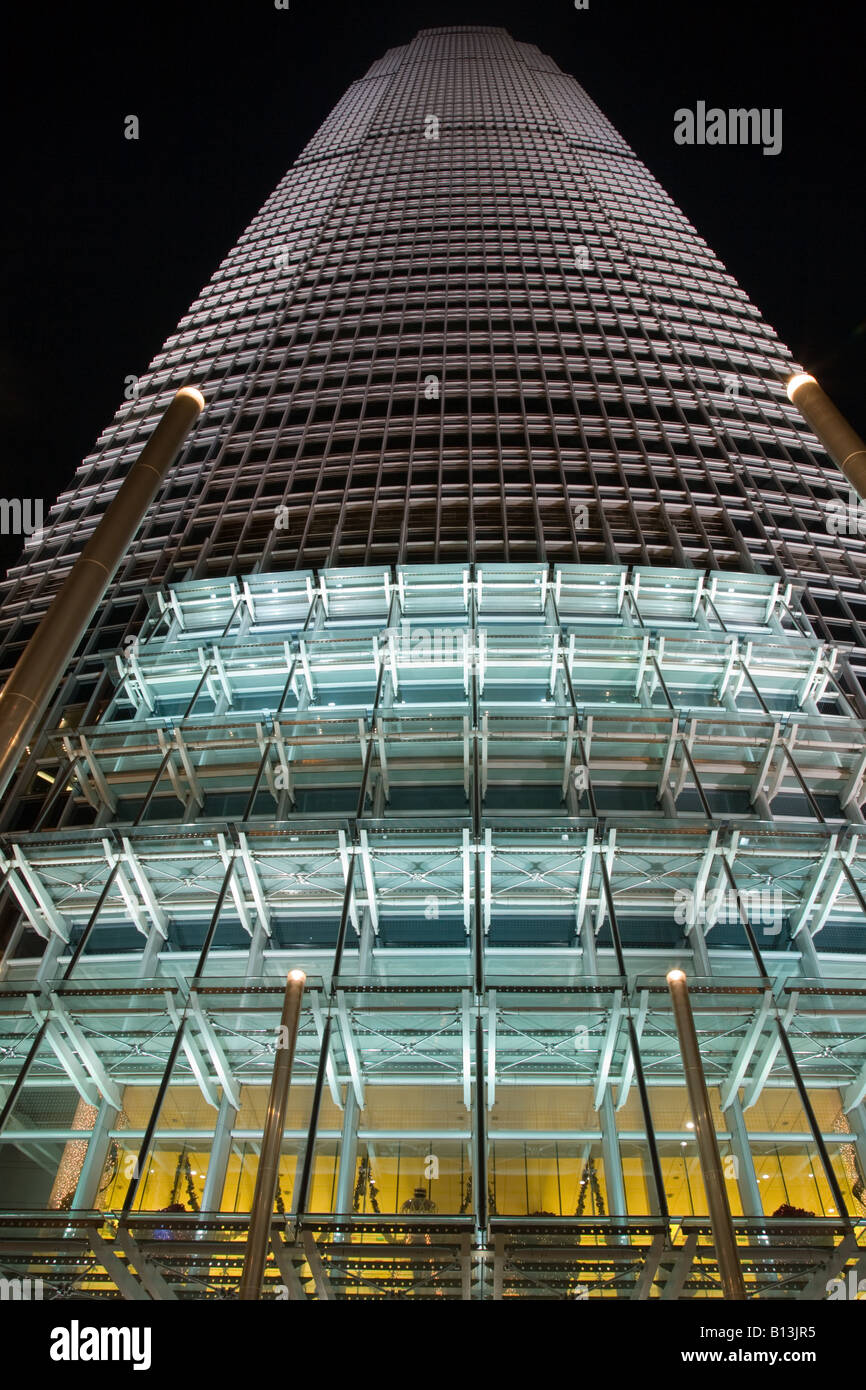 International Finance Centre at Night - Stock Image