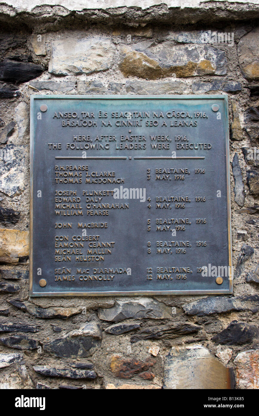 Plaque on wall at Kilmainham Gaol Dublin Ireland listing executions of leaders of the Easter Uprising - Stock Image