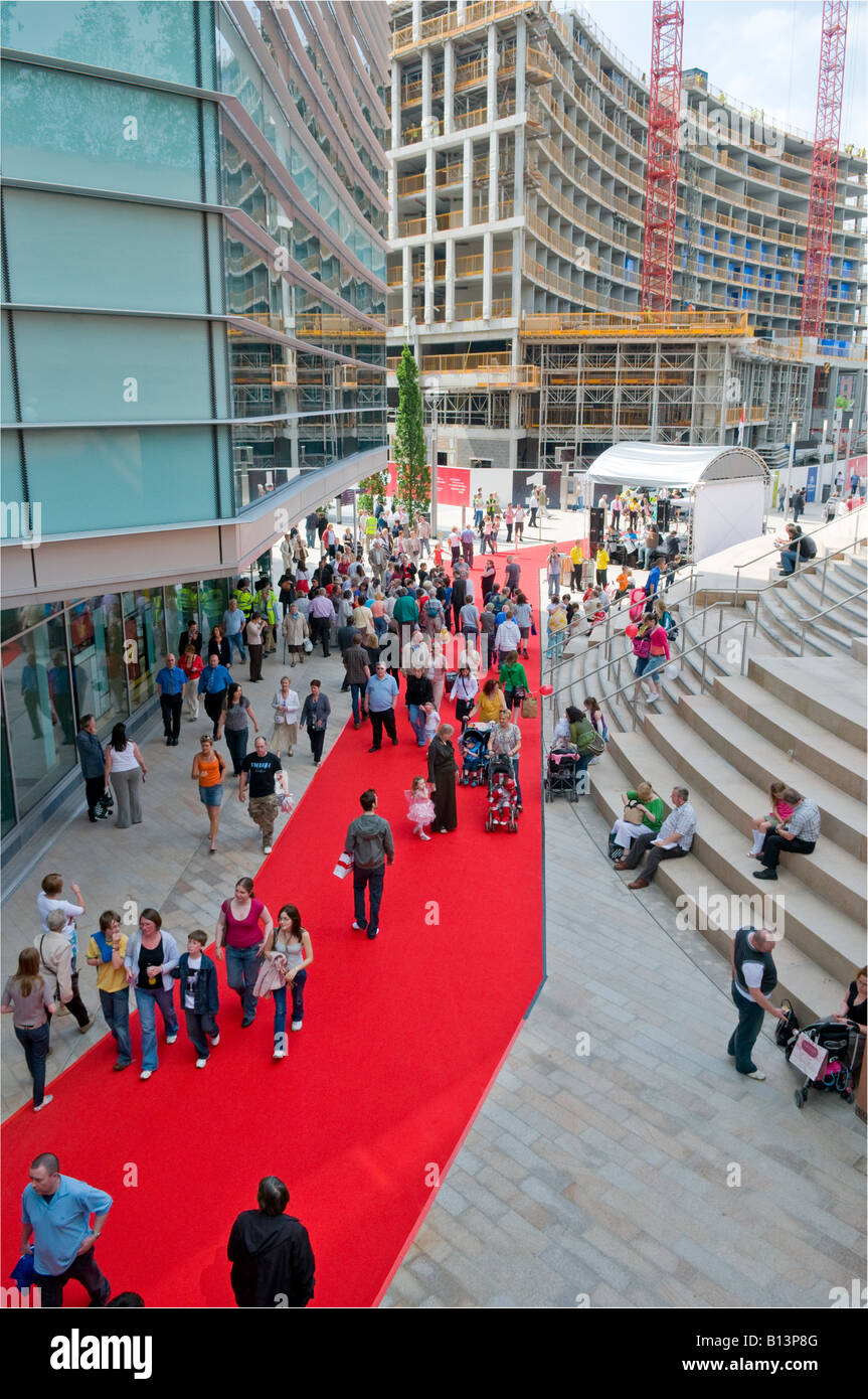 2bed376270 Liverpool One 1 shopping centre mall on opening day with large crowds and  red carpet. In European Capital of Culture 2008