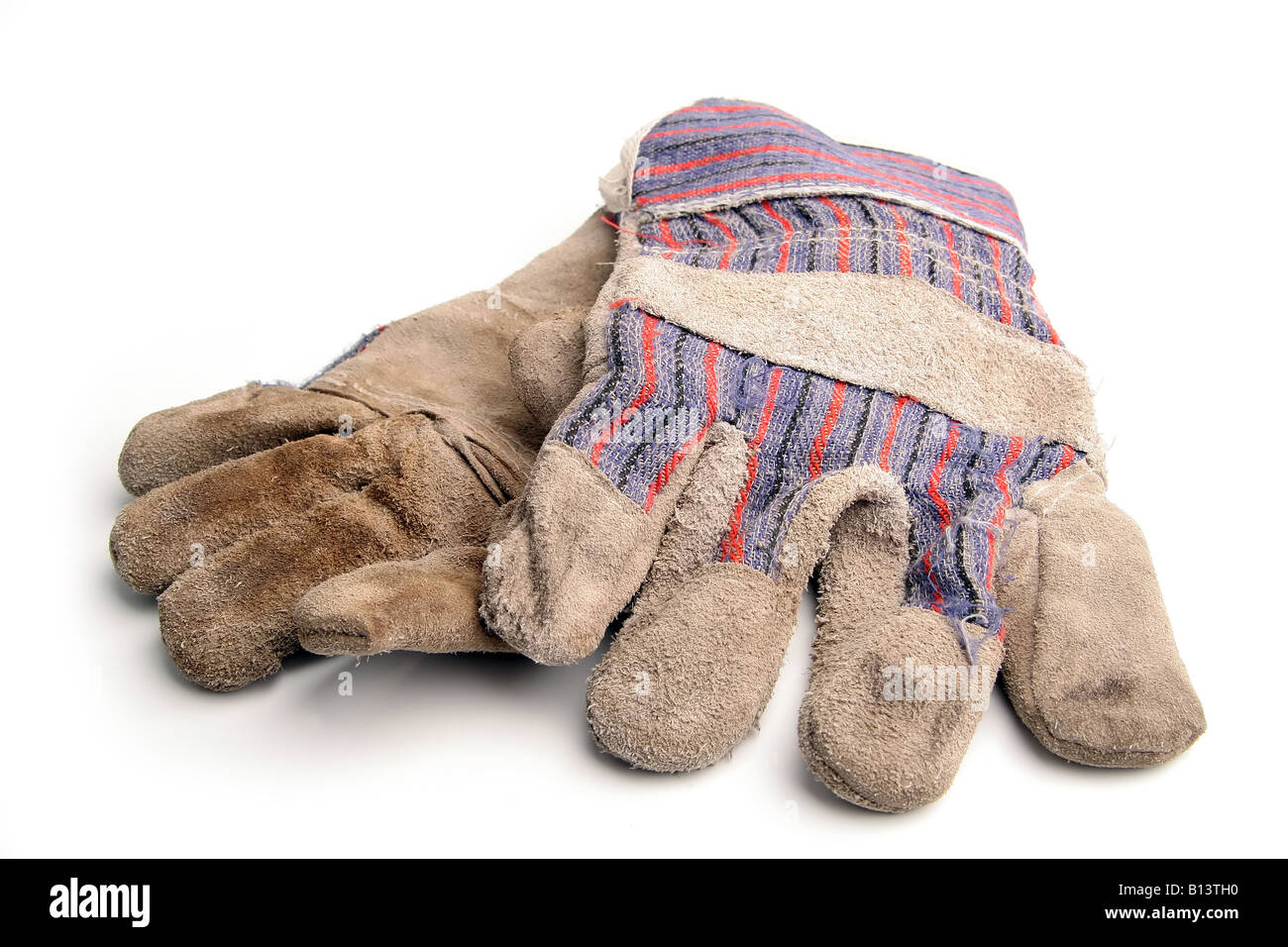 Used gardening gloves - Stock Image