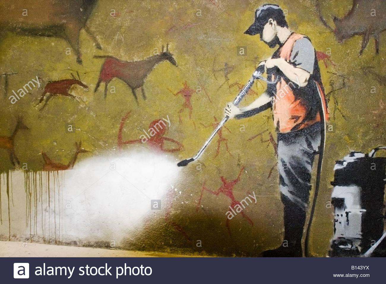 BANKSY Graffiti Street Art Wall Decor Print cave painting