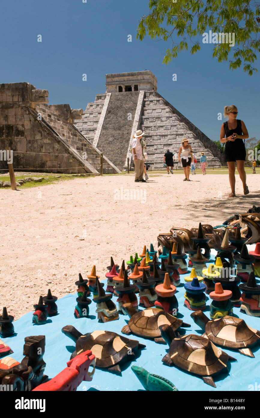 Souvenirs for sale at the Mayan ruins of Chichen Itza Mexico - Stock Image