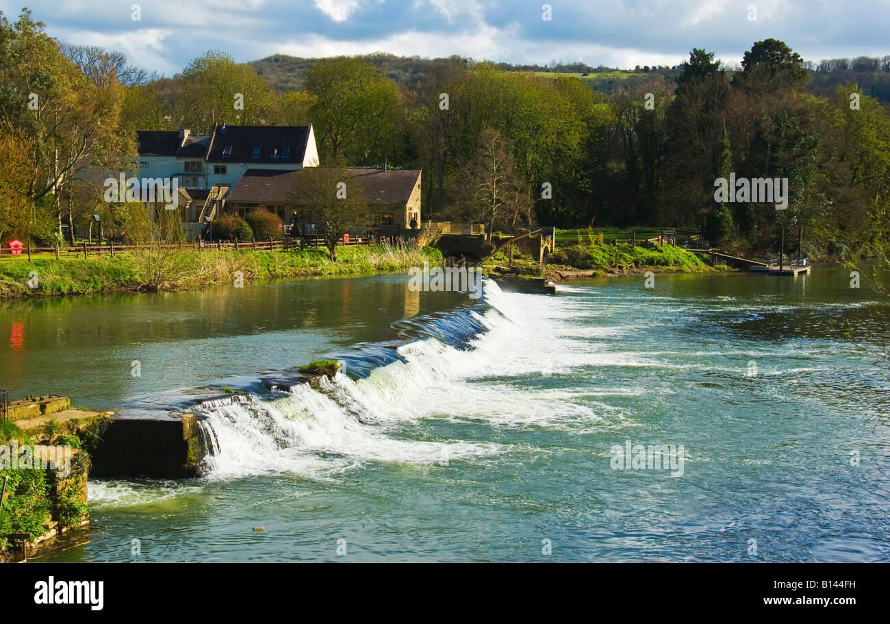 Weir on River Avon at Bathampton Mill near Bath Somerset England UK EU Stock Photo