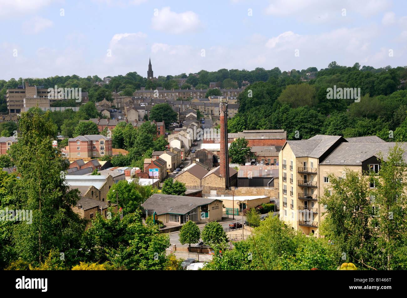 A panorama of Dewsbury from Crackenedge - Stock Image