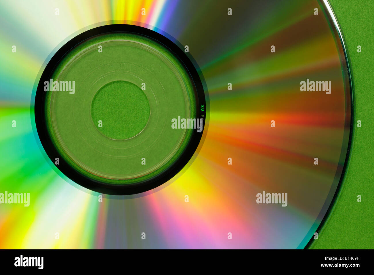 Light rays forming kaleidoscope of colours on closeup of CD Victoria British Columbia Canada - Stock Image