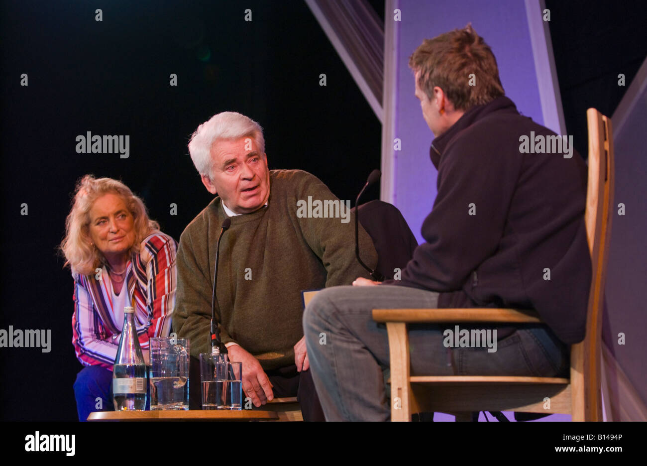 Boris Spassky Russian chess grandmaster & his wife Marina talking about his life on stage at Hay Festival 2008 Hay Stock Photo