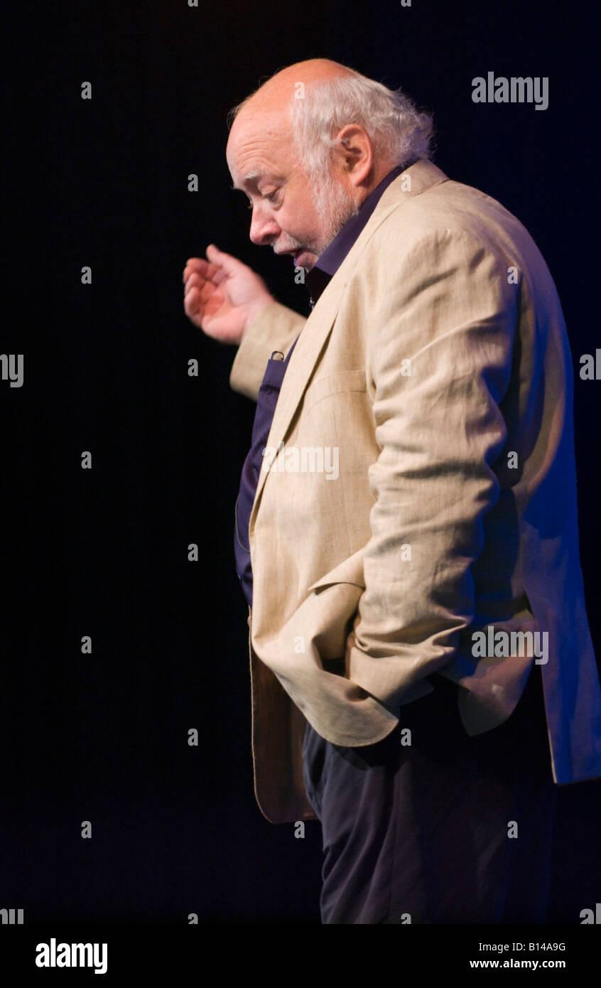 Anthony Johnson Archaeological surveyor speaking on stage at Hay Festival 2008 Hay on Wye Powys Wales UK - Stock Image