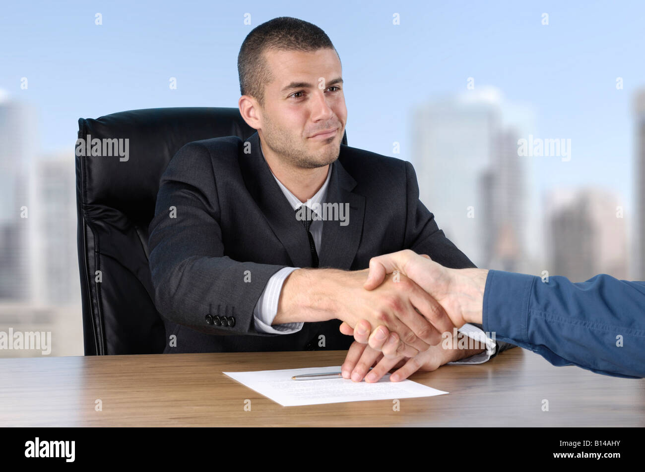 Businessman shaking hands with a client Stock Photo