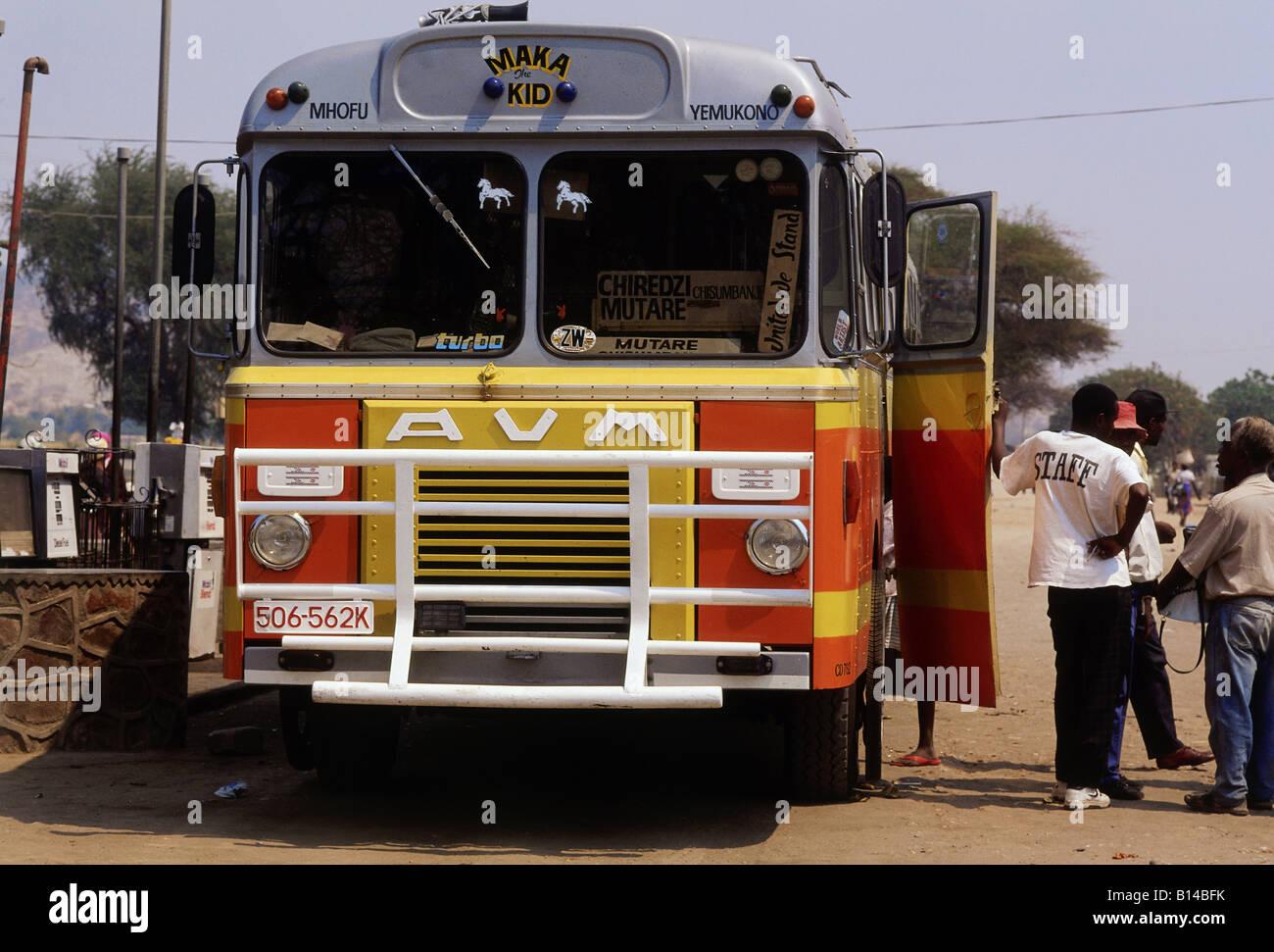 geography / travel, Zimbabwe, transport / transportation, regular service bus at bus stop in Eastern Zimbabwe, Additional - Stock Image