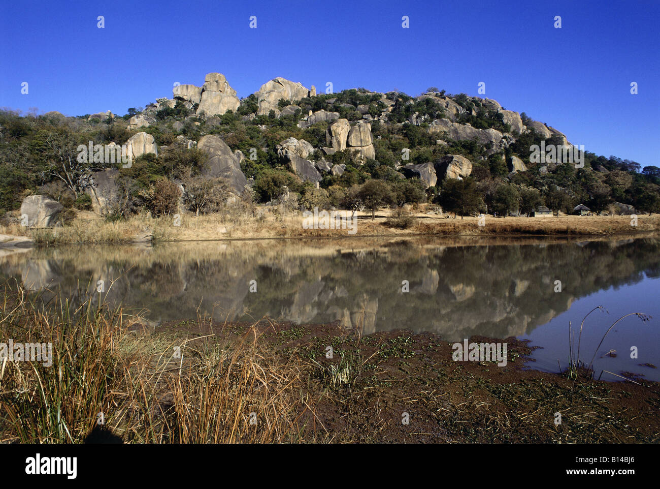 geography / travel, Zimbabwe, landscapes, Matobo National Park, granite rocks at a reservoir, Additional-Rights - Stock Image