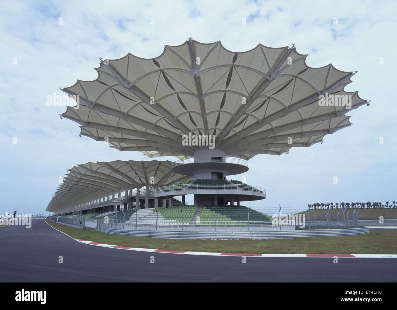 architecture, stadiums, Sepang International Circuit, racing track with covered stands, Additional-Rights-Clearance - Stock Image