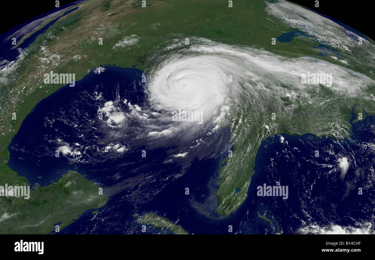 Hurricane Katrina as pictured from the NOAA satellite on August 29 2005 - Stock Image