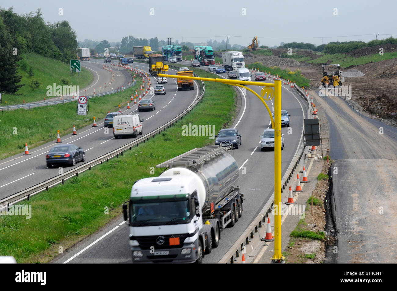 Average Speed Camera, A1 Road Upgrade, Wetherby, West Yorkshire - Stock Image