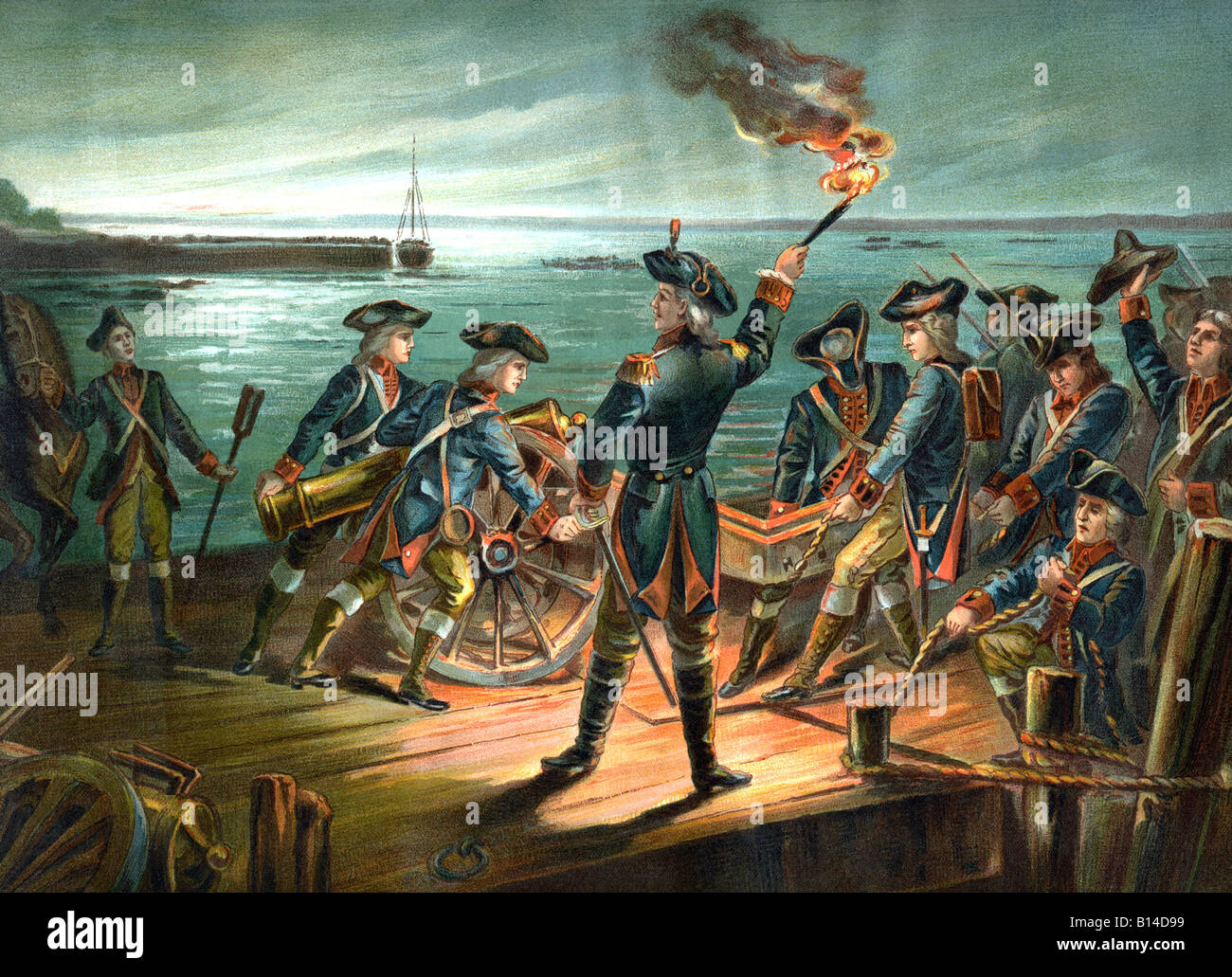 U.S. Army Artillery Retreat 1776 - Stock Image