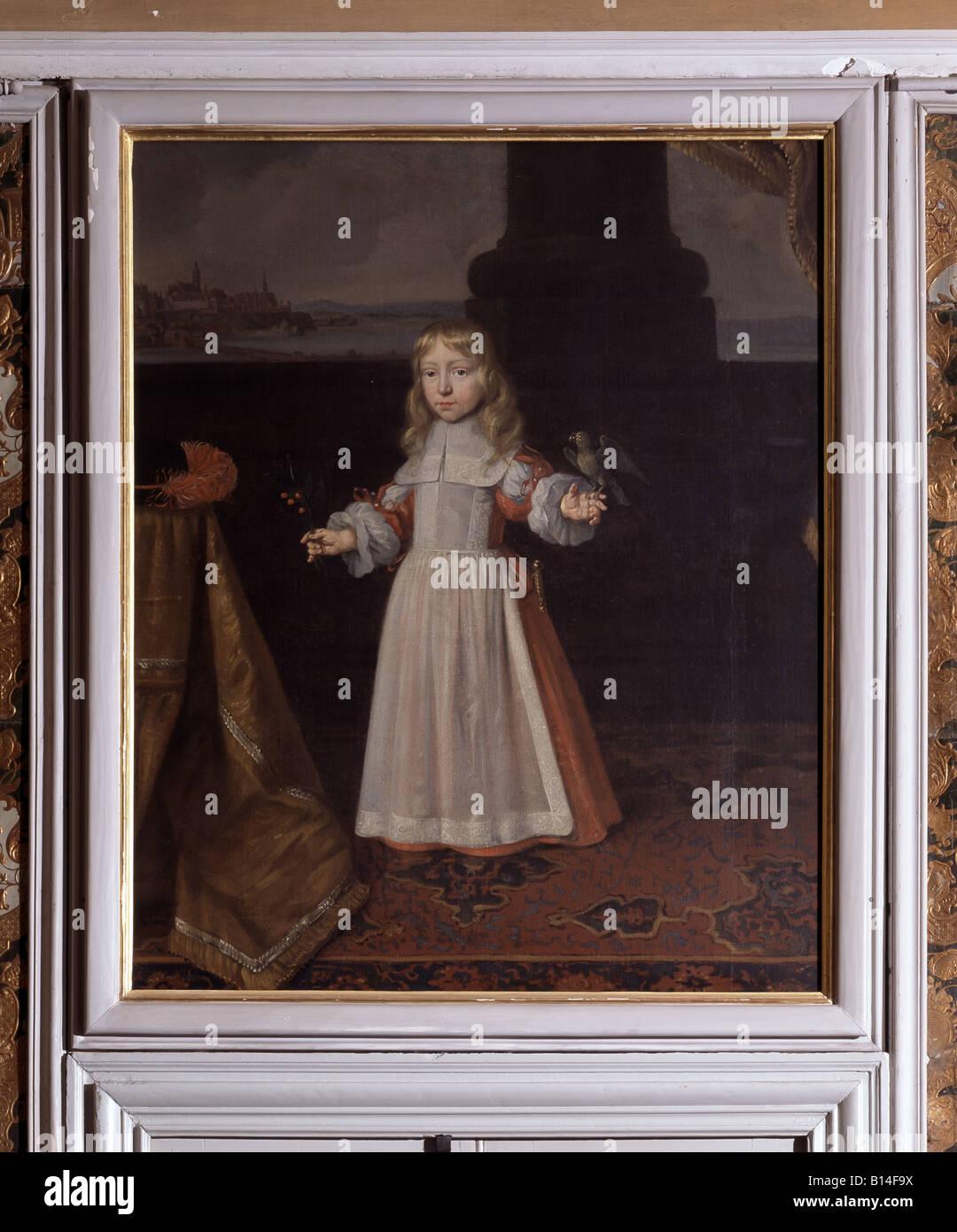 Brühl, Schloß Augustusburg, Blaues Winterappartement, Kinderportrait über der Türe, Pfalzgraf von Neuburg Stock Photo