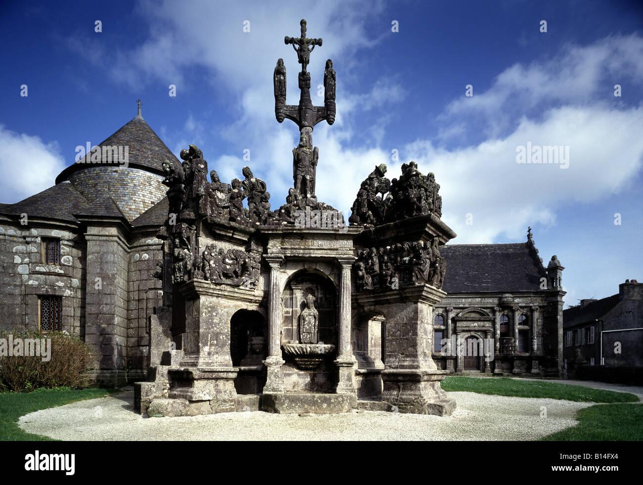Guimiliau (Finistère), Enclos paroissial, Detail Fassade - Stock Image