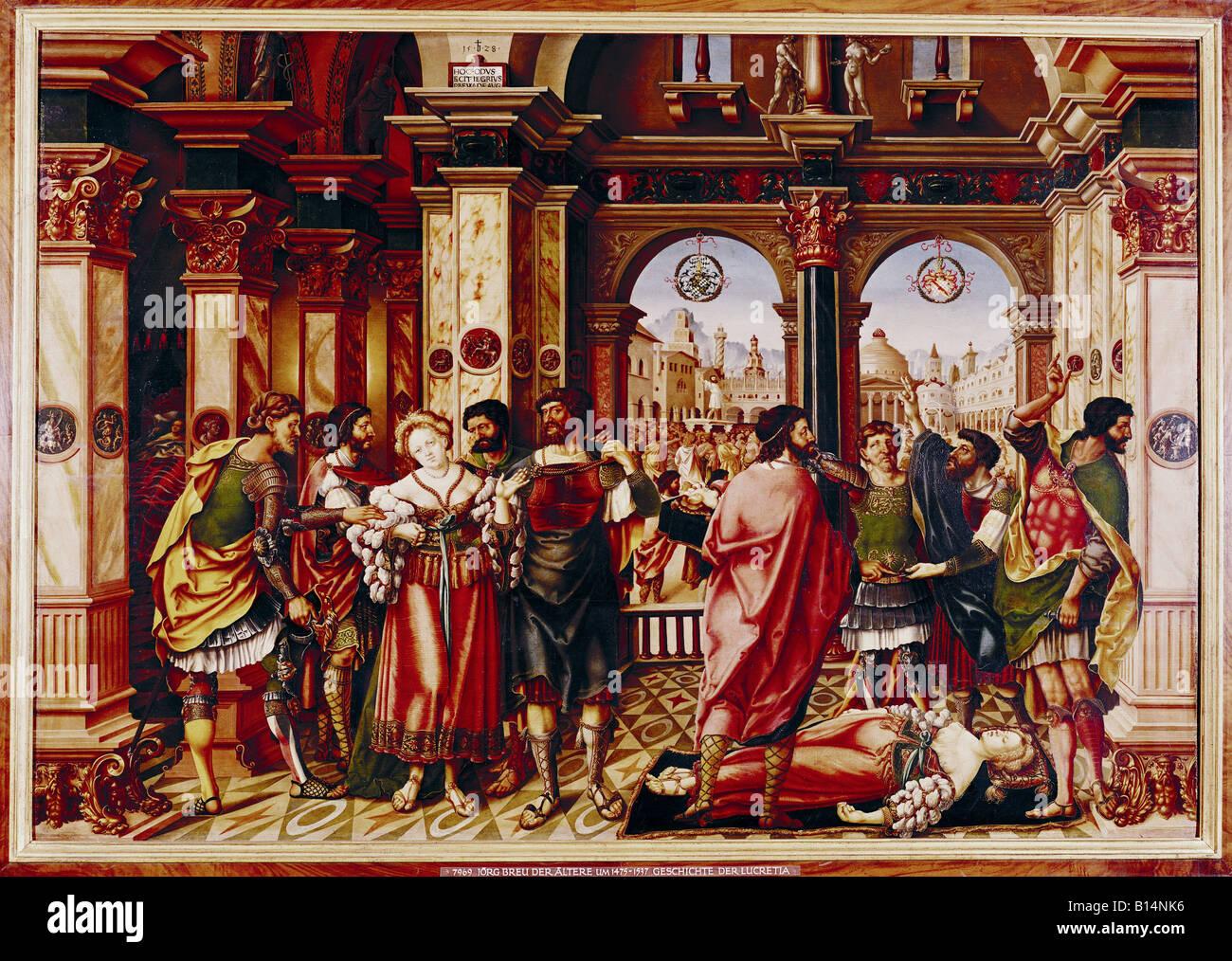 """fine arts, Breu, Jörg the Elder, (circa 1475 - 1537), painting, """"Die  Geschichte der Lucretia"""", (""""the story of Lucretia"""", 1528, p"""
