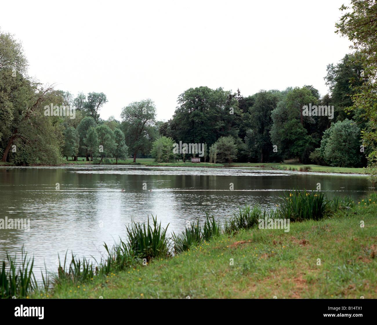 Ermenonville, Parc Jean-Jaques Rousseau, See und Rousseau-Insel - Stock Image