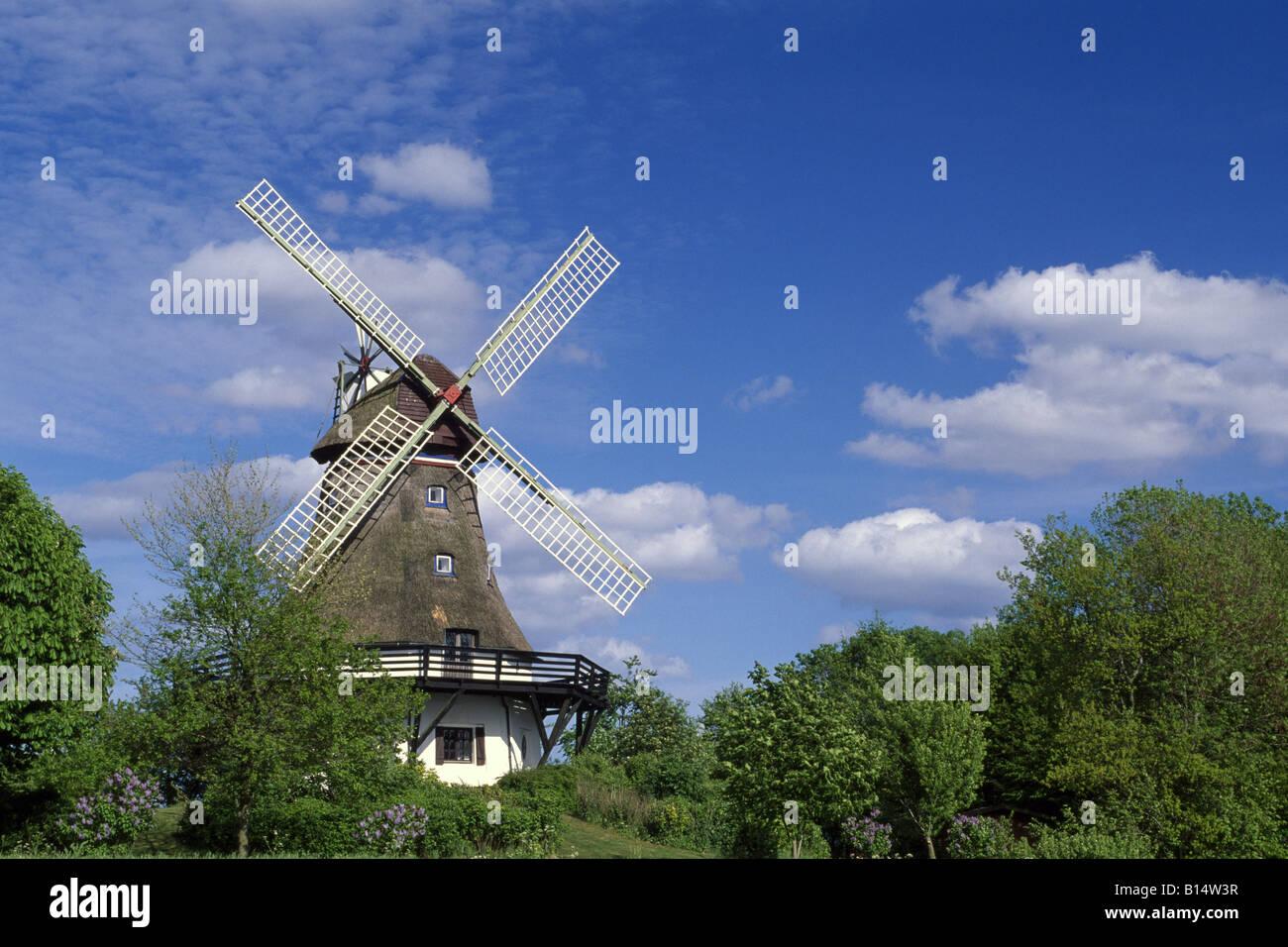 Windmill in Angeln Schlei, Schleswig Holstein, Germany Stock Photo