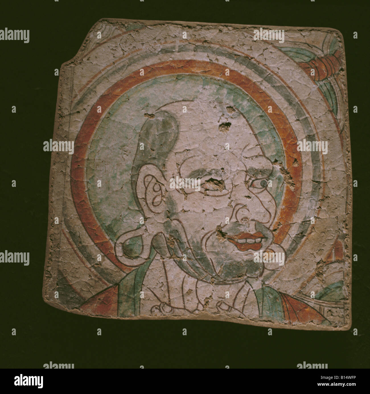 fine arts, China, Uyghur painting, portrait of a monk, fresco, Bezeklik Monastary, 8th/9th century, Museum for Asian - Stock Image