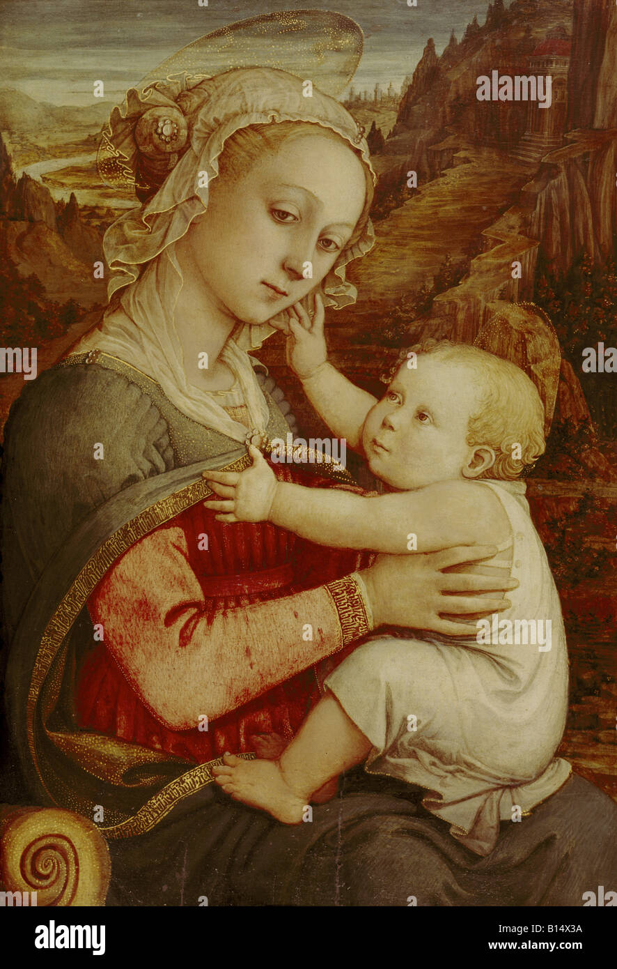 fine arts, Lippi, Fra Filippo, 1406 - 9.10.1469, painting, 'Saint Mary with the child', circa 1465, chestnut - Stock Image