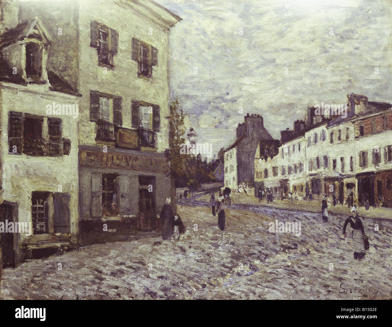 fine arts, Sisley, Alfred, (1839 - 1899), painting, 'Street in Marly', oil on canvas, 50 x 65 cm, 1876, - Stock Image