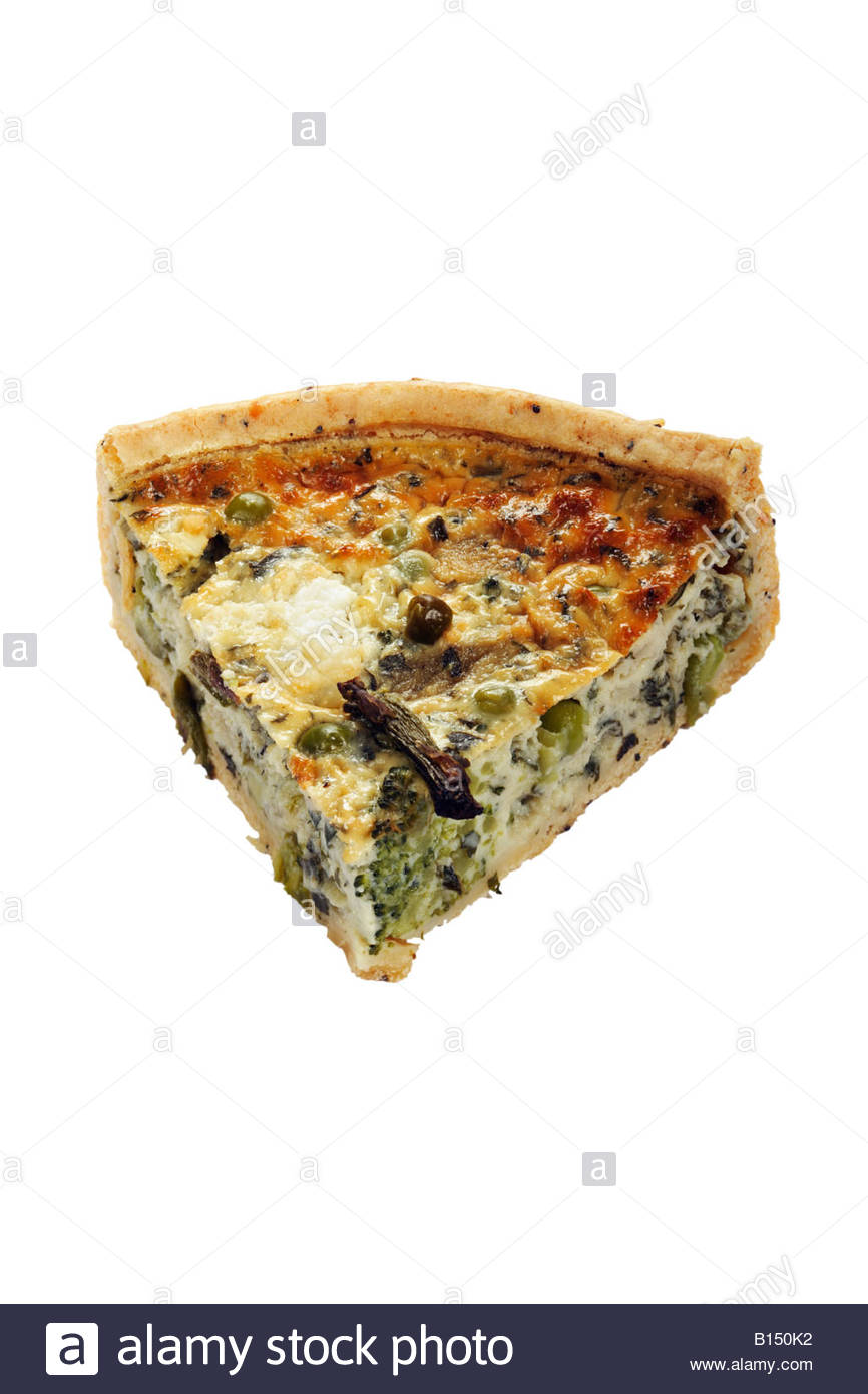 Slice quiche. Asparagus and summer herb quiche with broccoli, pea, and asparagus filling with lemon, mint and coriander Stock Photo