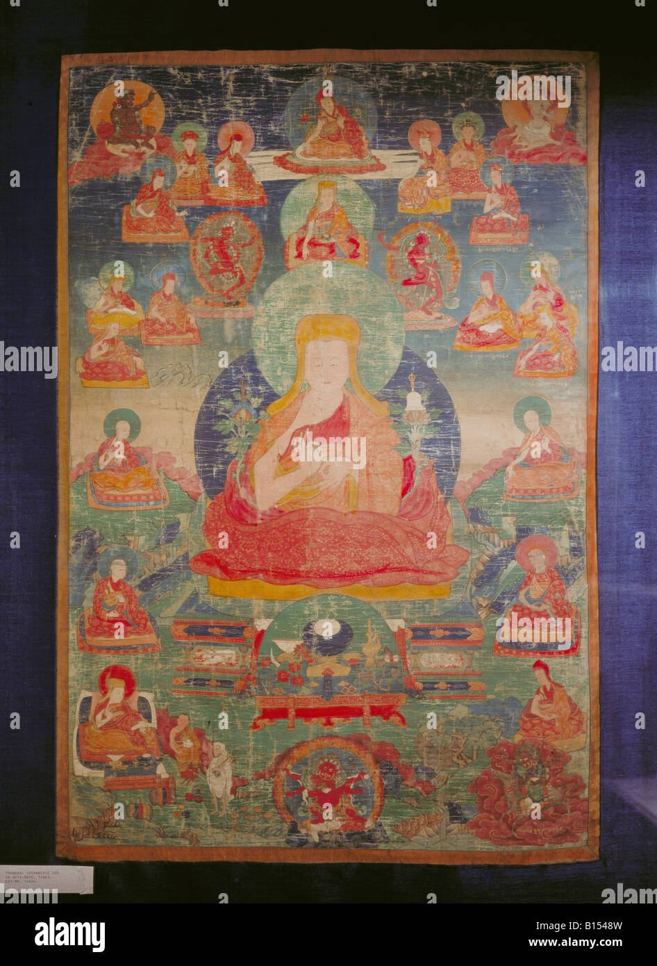 fine arts, Tibet, painting, Thangka, hierarchy of the Sa-Ggya abbots, silk, 18th century, Ethnological Collection, - Stock Image