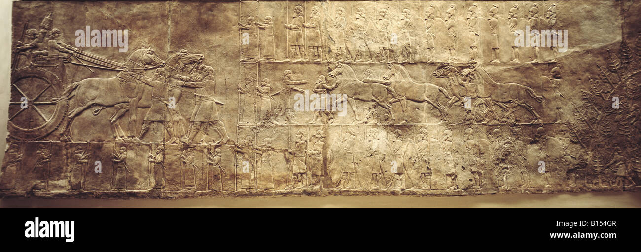 fine arts, ancient world, Assyrians, campaign, Nimrud, palace of King Ashurnasirpal II (reigned 883 - 859 BC), British - Stock Image