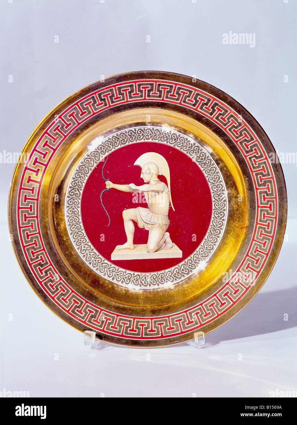 fine arts, porcelain, plate, series with gold plating, onyx series, archer, Nymphenburg Porcelain Manufactory, Germany, Stock Photo