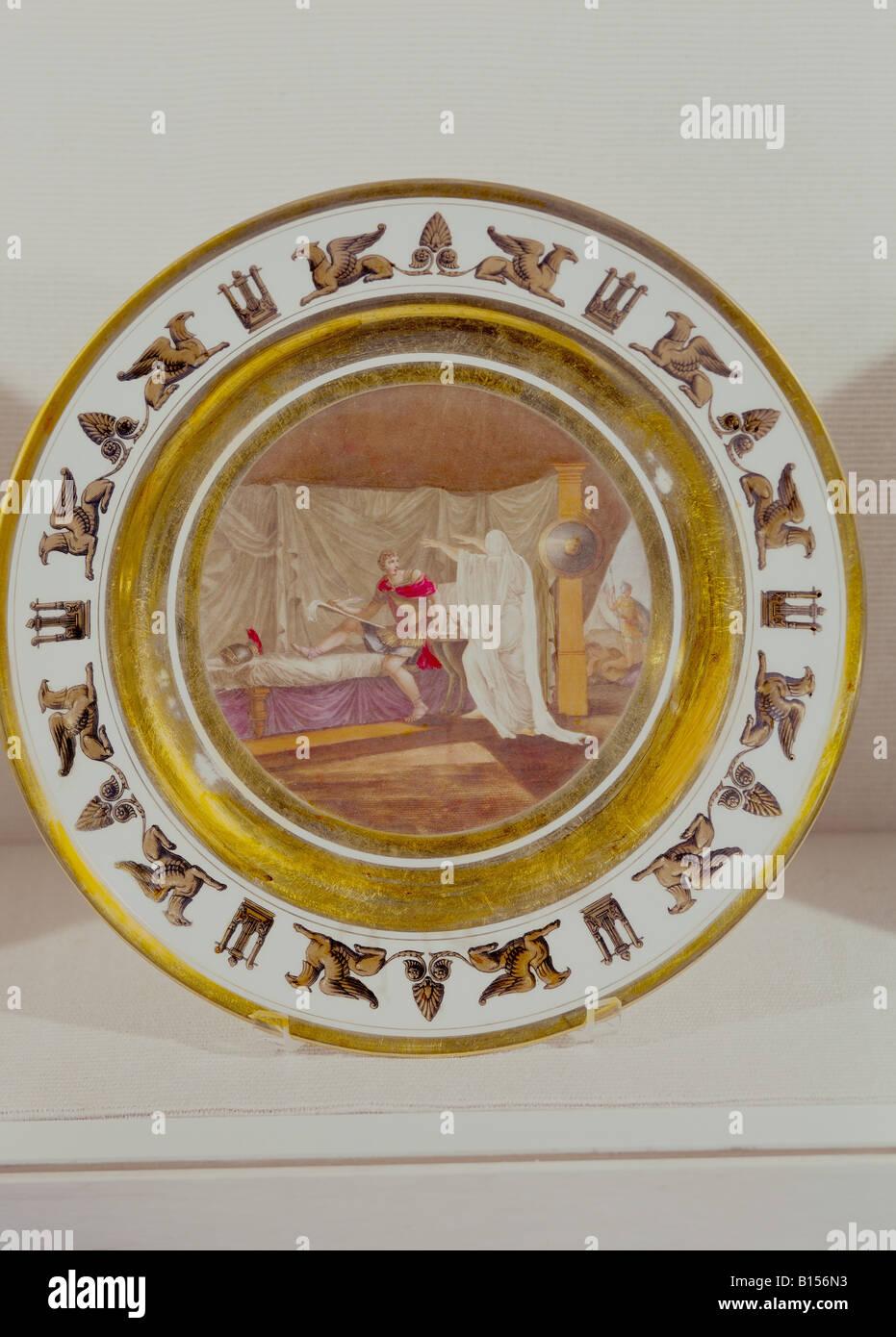 fine arts, porcelain, plate, series by Stone, Coquerel, Le Gros, diameter 22 cm, Paris, France, circa 1810, Munich Stock Photo