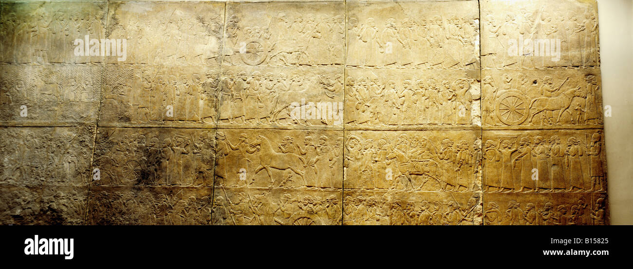 fine arts, ancient world, Assyrians, campaign, captured people, Nimrud, palace of King Ashurnasirpal II (reigned - Stock Image