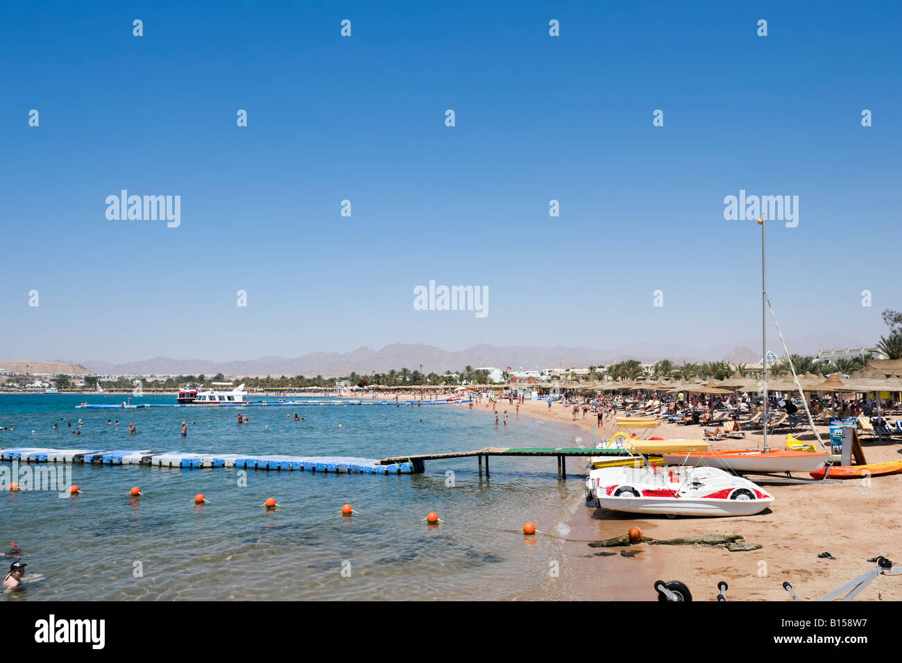 Naama Bay Beach, Sharm el-Sheikh, Red Sea Coast, South Sinai, Egypt - Stock Image